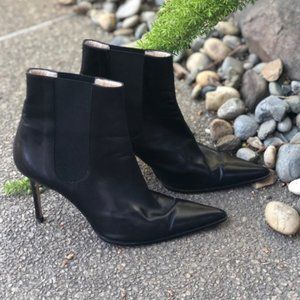 Michael Kors Black Leather Stiletto Ankle Boots